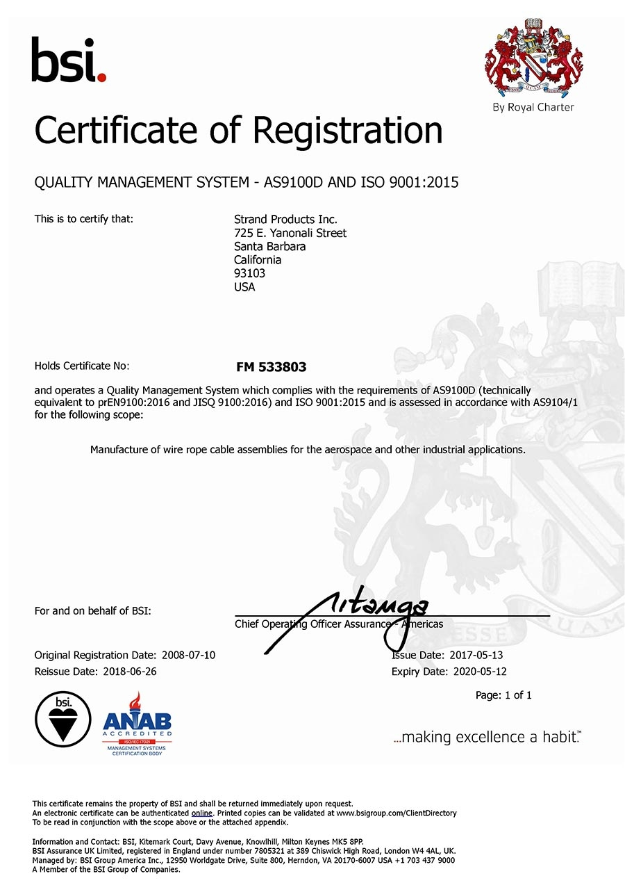 AS9100 Rev. D and ISO 9001:2015 Certification for Manufacture of ...